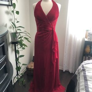 Long Red Halter Dress